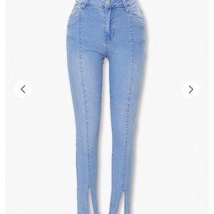 Split leg skinny jeans NWOT